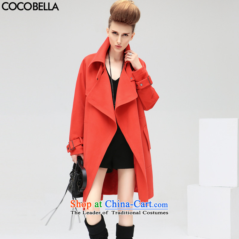 Cocobella?2015 autumn and winter new European and American high street entertainer lapel long hair loose coat female CT271? raspberries red?S