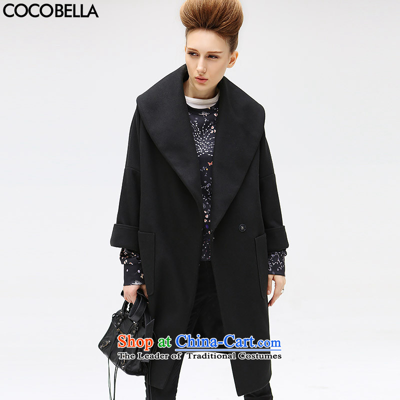 2015 Autumn and winter COCOBELLA new classic reverse collar  women's gross CT273 jacket? Black?M