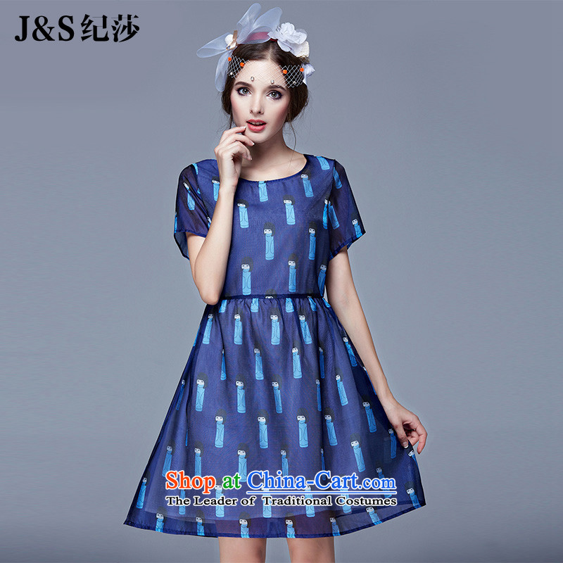 Elizabeth discipline爐o Europe and the 2015 XL women 200 catties summer wear dresses thick sister Sau San video thin puppet stamp the yarn round-neck collar燬N3695爏uit�L