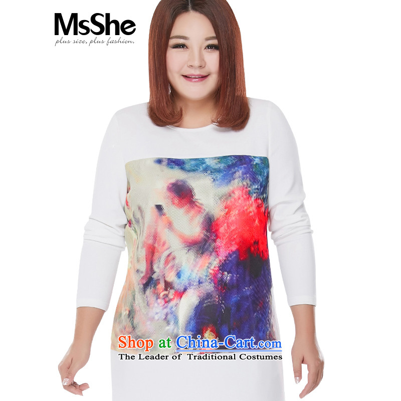 Large msshe blouses. Long new 2015 autumn large female thick mm lace woven shirts 10102 Stamp Snow White 5XL