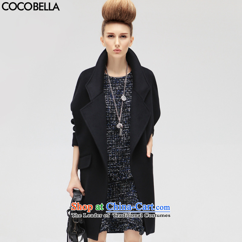 Cocobella 2015 autumn and winter new western cocoon-long jacket female CT309 woolen coat black S