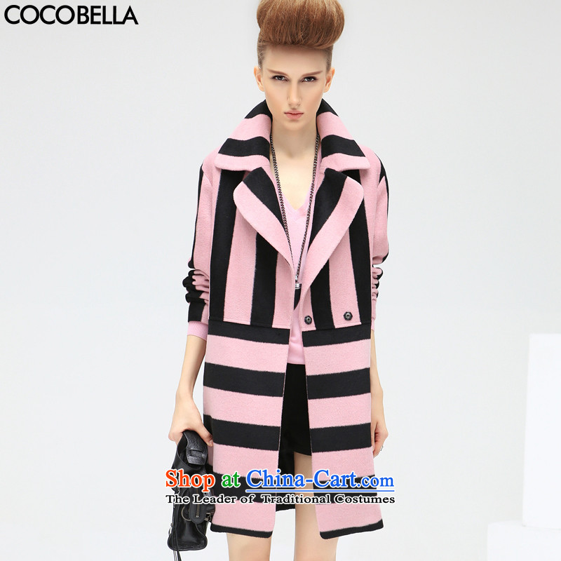 The new winter 2015 COCOBELLA streaks in Europe and the Leisure loose Long Hair Girl CT313 jacket? toner black stripe L