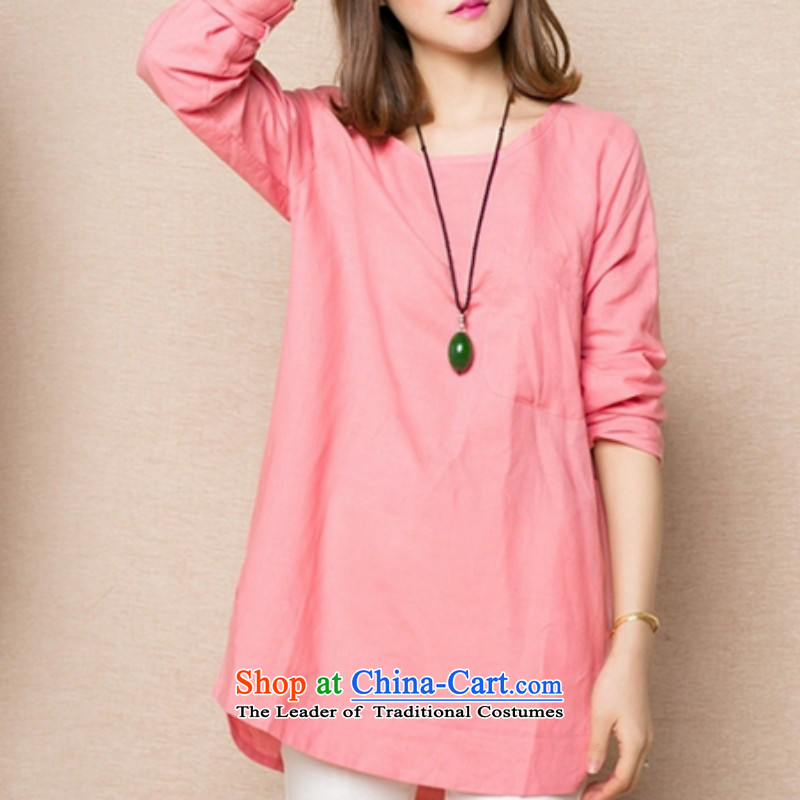 Replace the Korean version of the 2015 autumn shirt MM thick cotton linen A relaxd T-shirts, T-shirt shirts video thin light pink�L