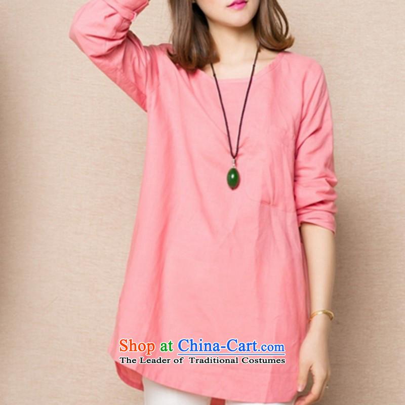 Replace the Korean version of the 2015 autumn shirt MM thick cotton linen A relaxd T-shirts, T-shirt shirts video thin light pink?3XL