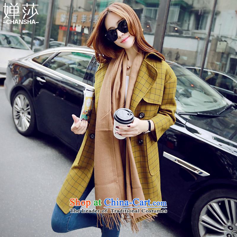 Vacuum Windsor windbreaker women 2015 autumn and winter new gross? coats that long hair? jacket winter coats sub)?? Korean president wool female YellowM