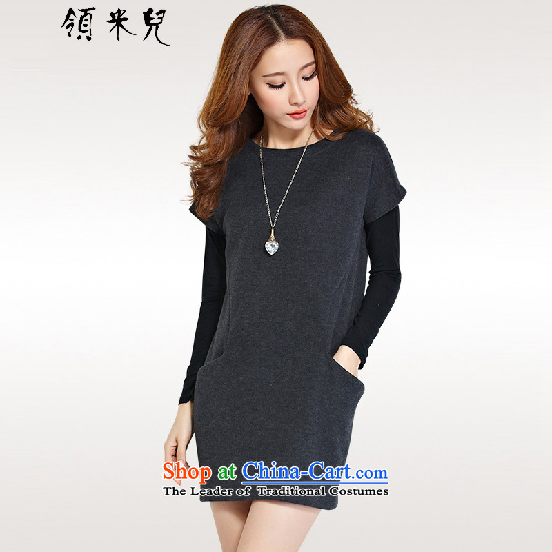 For M-2015 XL female autumn and winter new Korean version of fat mm loose video thin skirt wear skirts leisure two kits Y11813XL Dark Gray