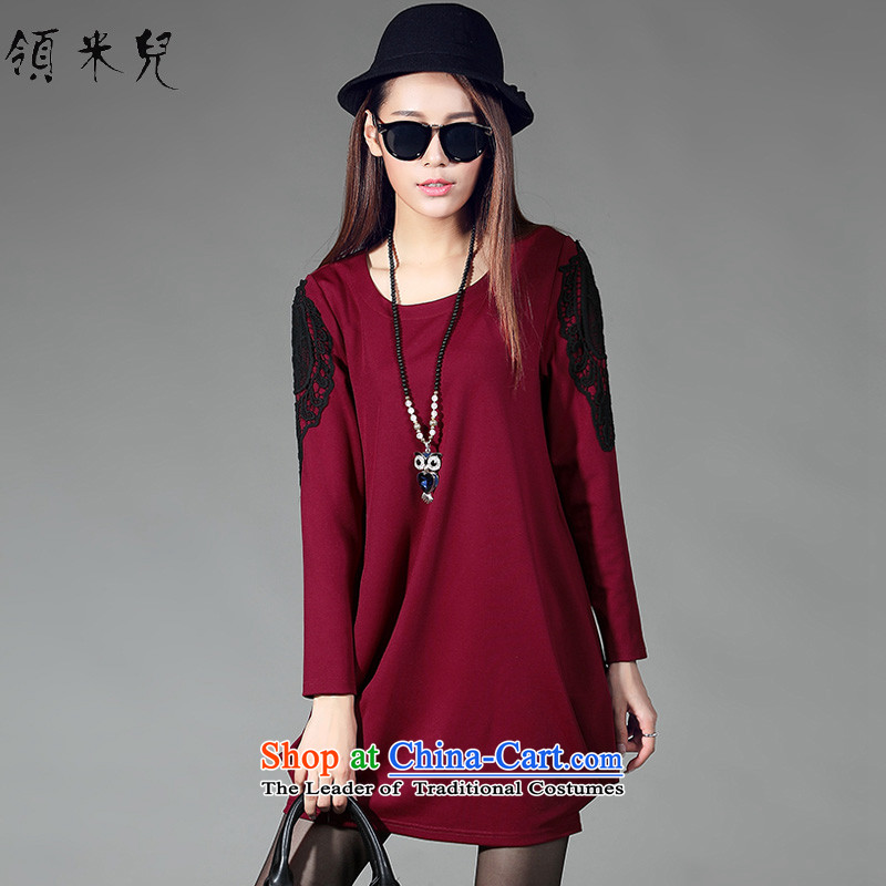 For M-XL female thick mm thin 2015 autumn and winter video new lace stitching light hovering over-forming the long-sleeved dresses W2075�L wine red