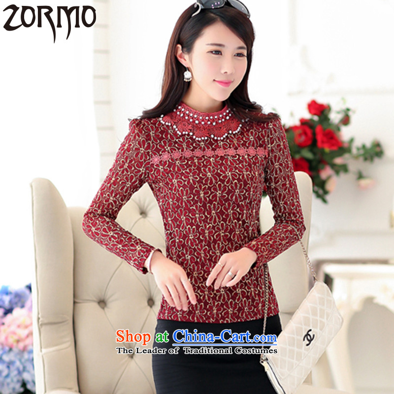 Install the latest Autumn 2015 ZORMO Mock-neck nails, the Pearl River Delta to xl lace forming the shirt, autumn and winter long-sleeved T-shirt female wine red�L 160-180 catty