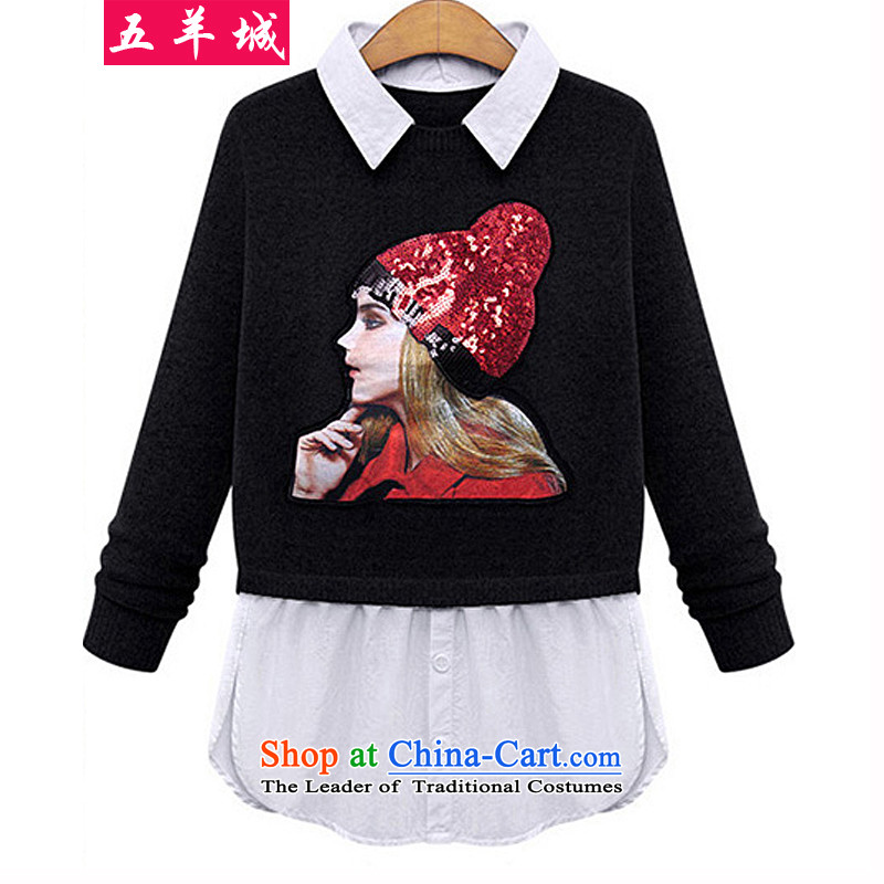 Five Rams City larger fall in 2015 new larger female cartoon images knitwear thick sister western smart casual wear shirts stitching 318 Black聽XXL recommendations about 120-140