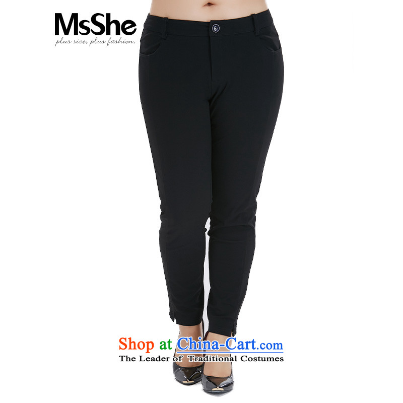 New autumn msshe2015 commuter wind in large waist of ladies' pants thick mm video thin trousers pre-sale of 6,338 Deferred Black - pre-sale to the T5 12.10