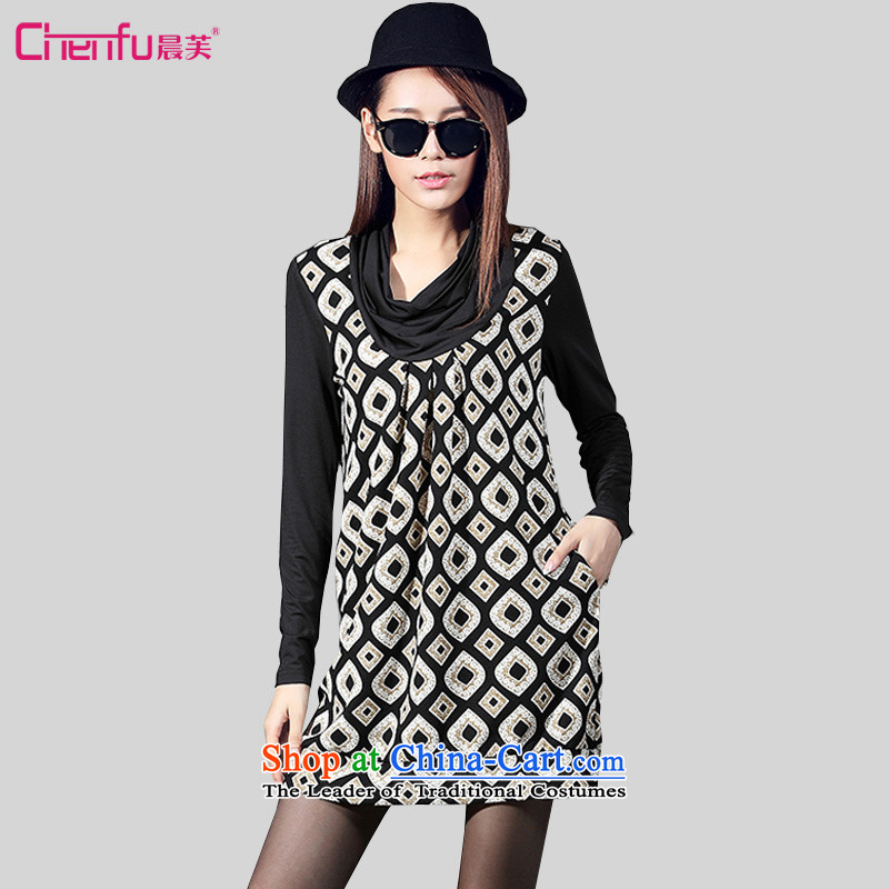Morning to 2015 autumn and winter new Korean trendy code women heap heap for dress thick MM stamp stitching long-sleeved black skirt 4XL RECOMMENDATIONS 150 - 160131 catty