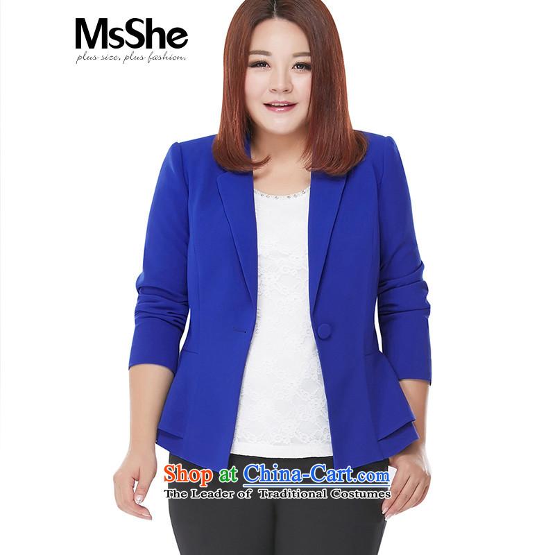 New Career autumn msshe2015 plus size suit simple mm thick coat larger women's 10,229 enterprises? 3XL blue
