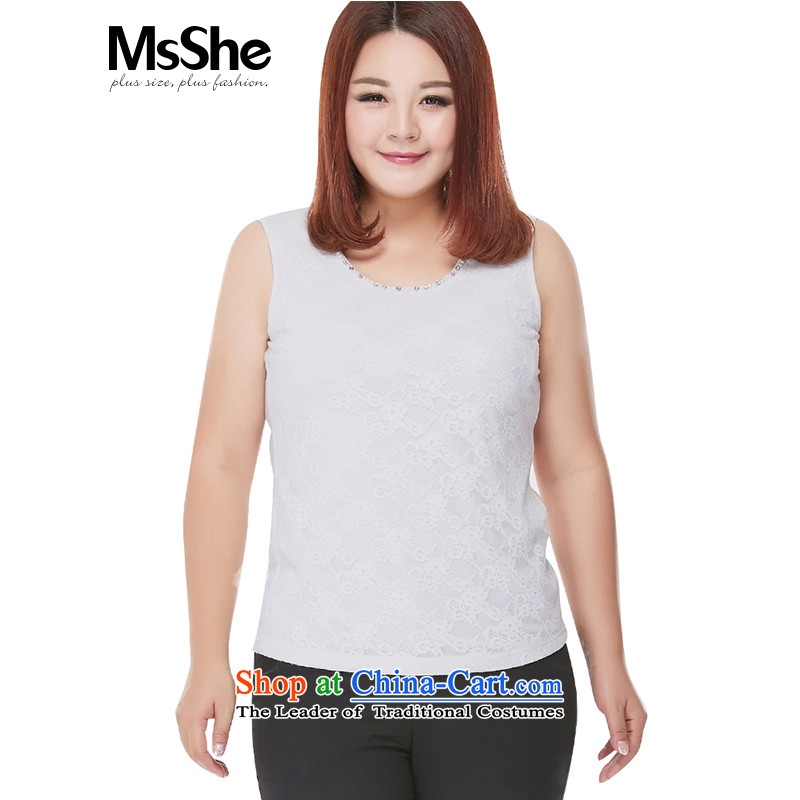 Large msshe women 2015 new autumn replacing lace sleeveless larger vest Thick coated shirt 8586 mm white�L