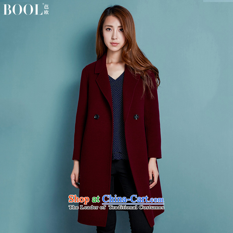 Barbara Euro 2015 Autumn Ms. new two-sided Fleece Jacket hand-in? Long woolen coat, wine red S photographed the 20-day shipping
