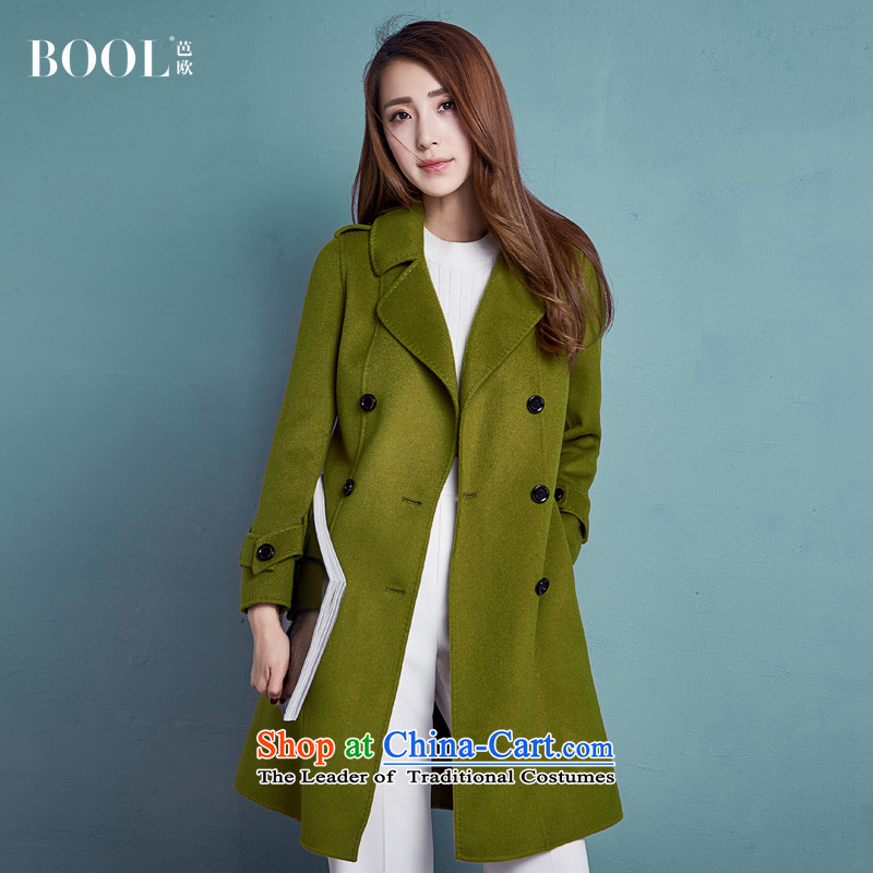 Barbara Euro 2015 Autumn New hand-long hair that Ms. jacket sided flannel woolen coat Tseung Kwan Green?M
