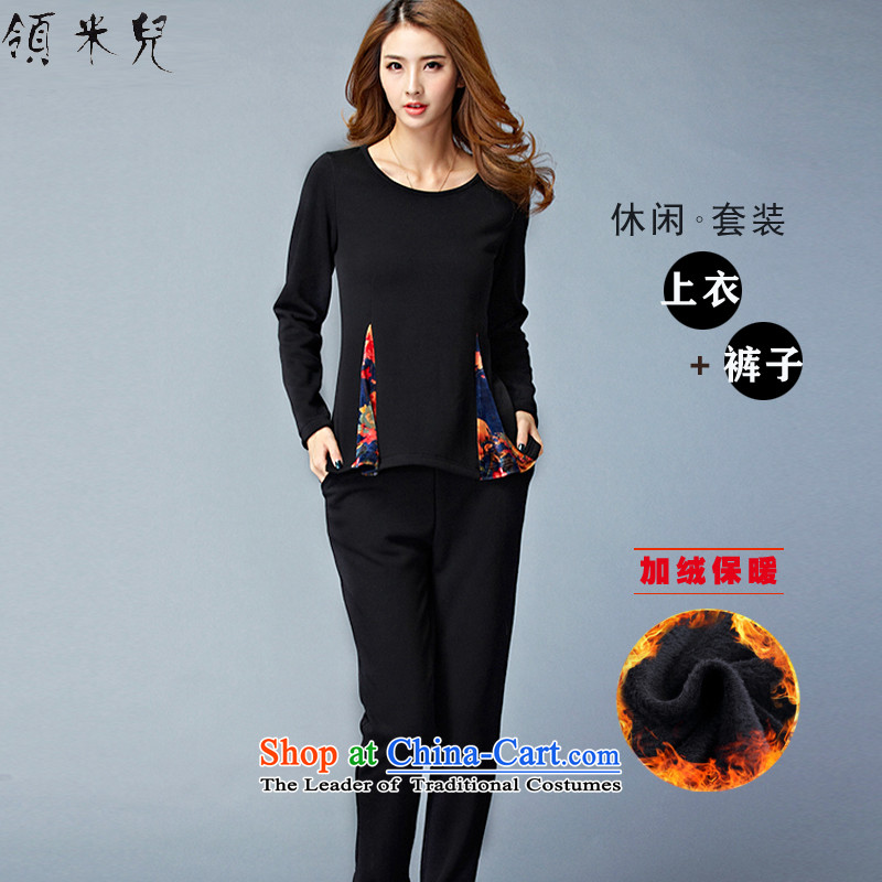 For M-聽Large 2015 women Fall_Winter Collections plus new lint-free thick leisure sweater kit fat mm thin t-shirt + Video pants two kits W8802聽XXXL black