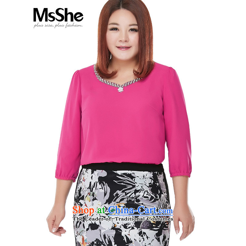 Elegant new msshe2015 commuter winds code chiffon shirt thick sister larger female 10268 MCB Red�L