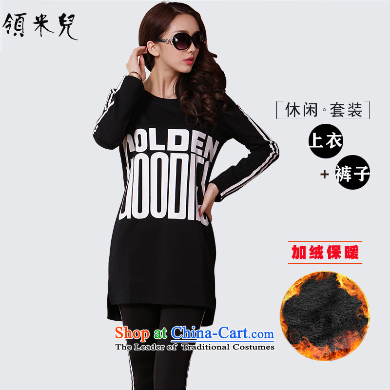 For M- 2015 XL female autumn and winter new Korean Sports and Leisure Package thick mm thin t-shirt + Video pants plus two kits Y1328 lint-free black 3XL