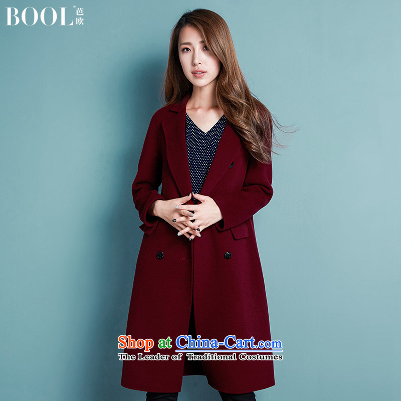 Barbara Euro 2015 Autumn Ms. new long hand-sided flannel jacket? gross woolen coat, wine red燬 photographed the 20 day shipping