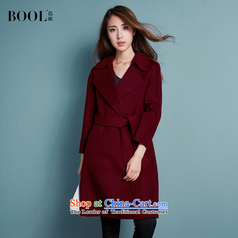 Barbara Euro 2015 autumn the new President won version plain manual gross? long jacket tether, woolen coat, wine red燤 photographed the 20 shipping