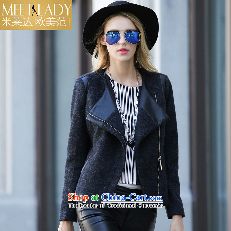 M LEDDA2015 autumn and winter new European and American fur coats that spell checker pure color long-sleeved sweater female 5LN056 CARBONM