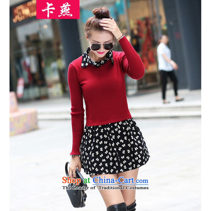 Card Yin thick sister Fall_Winter Collections 2015 skirt to wear the xl women 200 catties thick mm thin leave both graphics kit dresses聽608聽聽3XL wine red