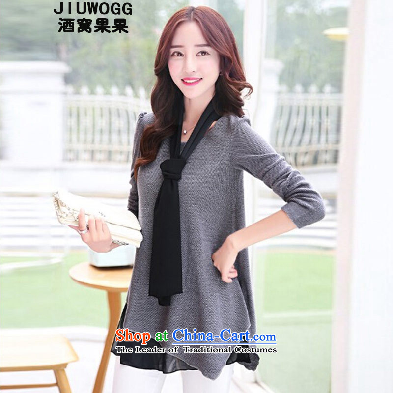 Dimple jelly 2015 new fall inside larger female thick MM stylish Sau San video thin wild long-sleeved stitching Knitted Shirt female 8195 gray XXL