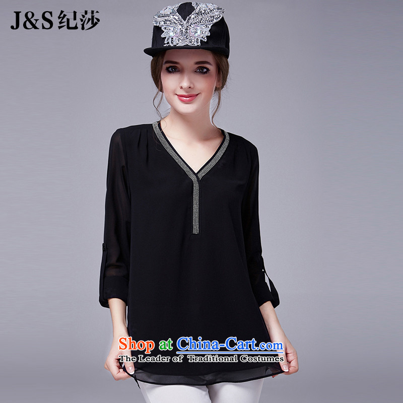 Elizabeth 2015 ultra thick discipline sister larger female autumn replacing V-Neck long-sleeved shirt thick mm chiffon forming the netting fluoroscopy T-shirt, black 5XL SN1016 New