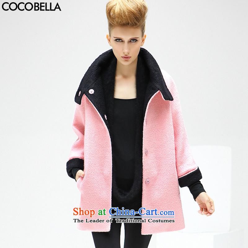Cocobella 2015 autumn and winter new western van collided color large lapel coats wool coat CT126 gross? cherry blossoms toner燤