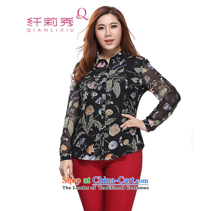 The former Yugoslavia Li Sau 2015 autumn large new mount female stylish lapel stamp single row detained thick MM chiffon long-sleeved shirt 0231 Black 2XL