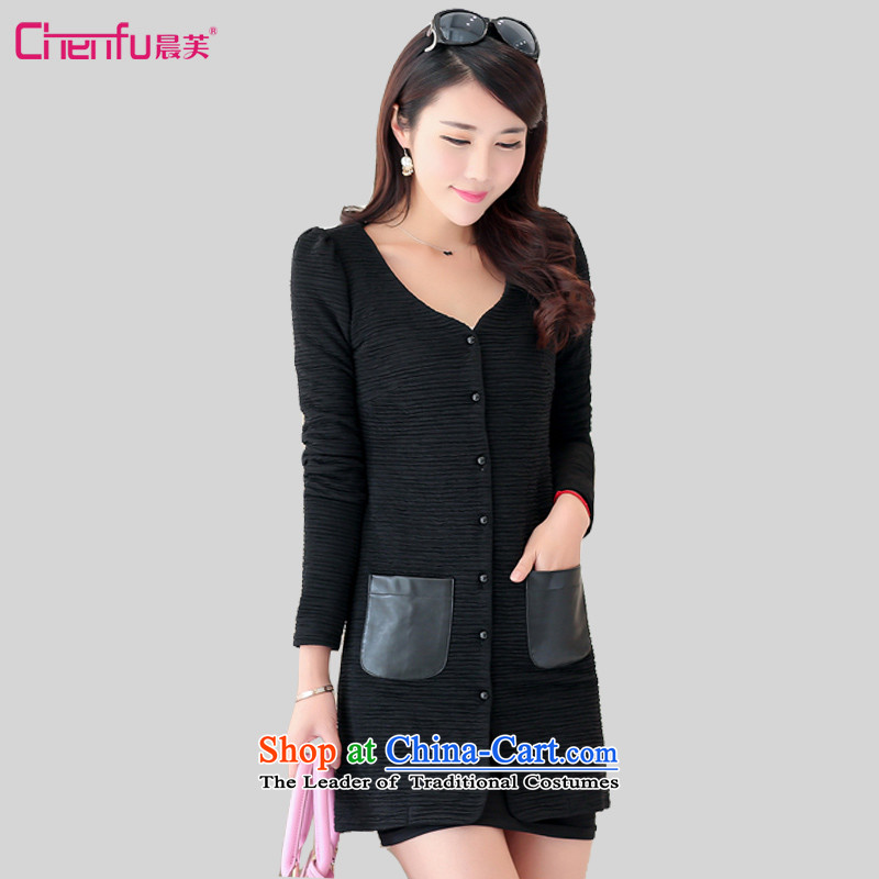 Morning to 2015 autumn and winter new larger women in long long-sleeved sweater Sau San video thin stylish wild wind jacket black 5XL recommendations weighs 160-170 catty