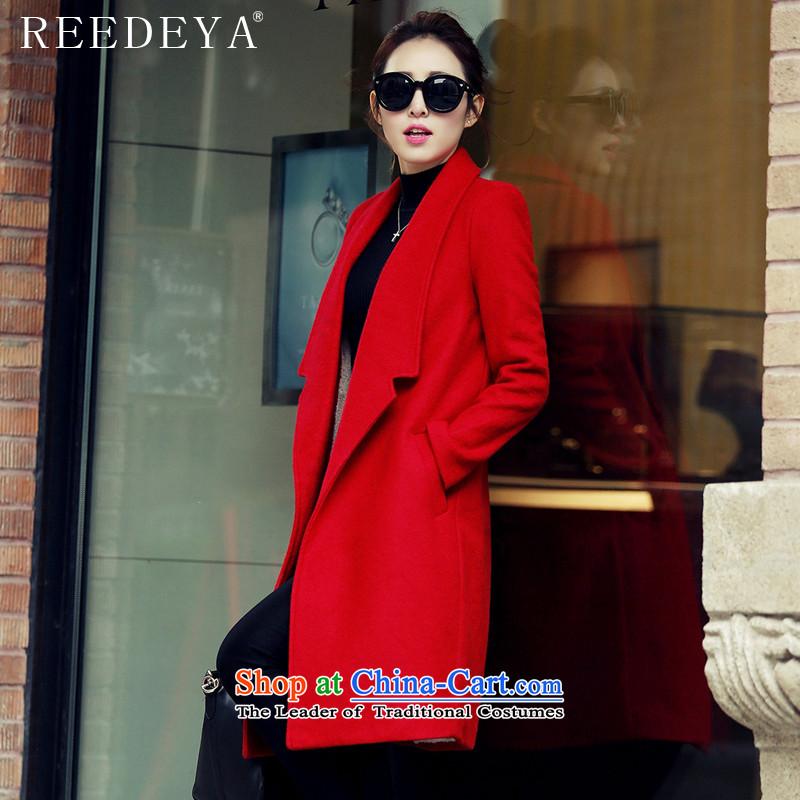 Avandia Rui REEDEYA2015 autumn and winter new temperament wool? Jacket Sau San Korean version, long thin coat of gross? female redL