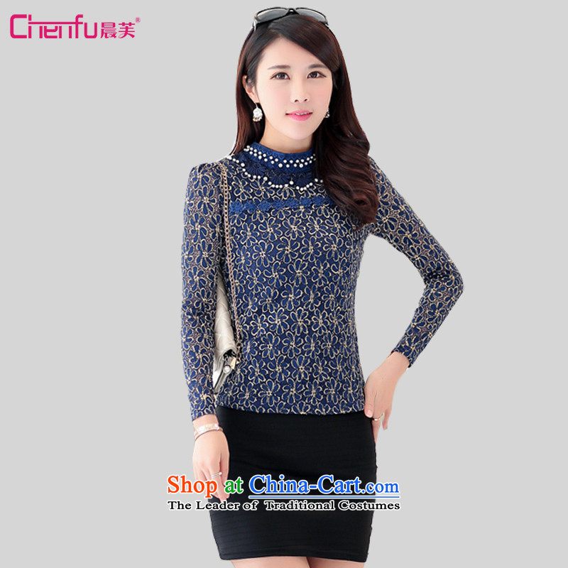Morning to new autumn 2015 installed to increase the number of women with lace Mock-Neck Shirt Sau San video thin solid long-sleeved shirt, forming the pearl of the nails t-shirt blue5XL recommendations weighs 160-170 catty