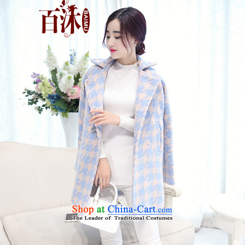 2015 Autumn and winter bathing in the hundreds of new, Korean college wind loose long-sleeved jacket in long? gross Fleece Jacket coat women? 18.252 picture colorL