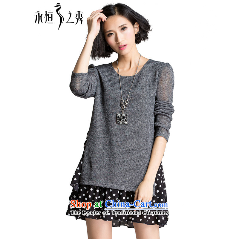 The Eternal Soo-XL women's dresses autumn 2015 new products thick mm thick people to sister loose black poverty, wave point video thin sweet suits skirt flower Gray2XL