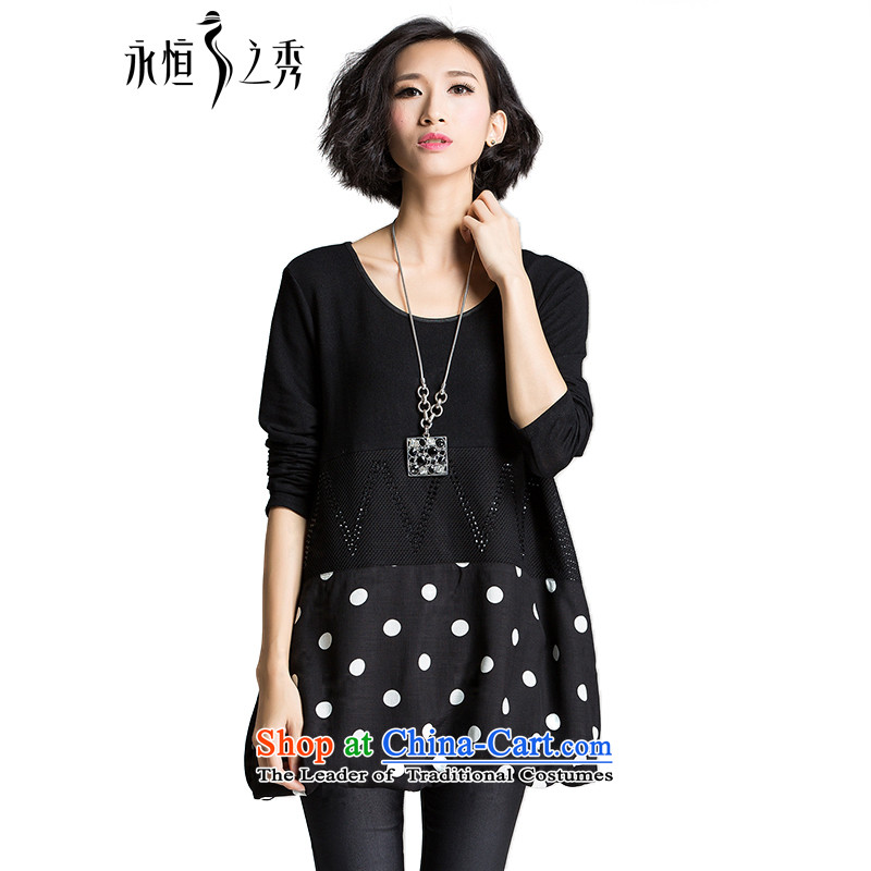 The Eternal Soo-XL t-shirts in the autumn 2015 new products thick mm sister Korean Wave point stitching atmosphere thick, Hin thin, large black�L long-sleeved T-Shirt