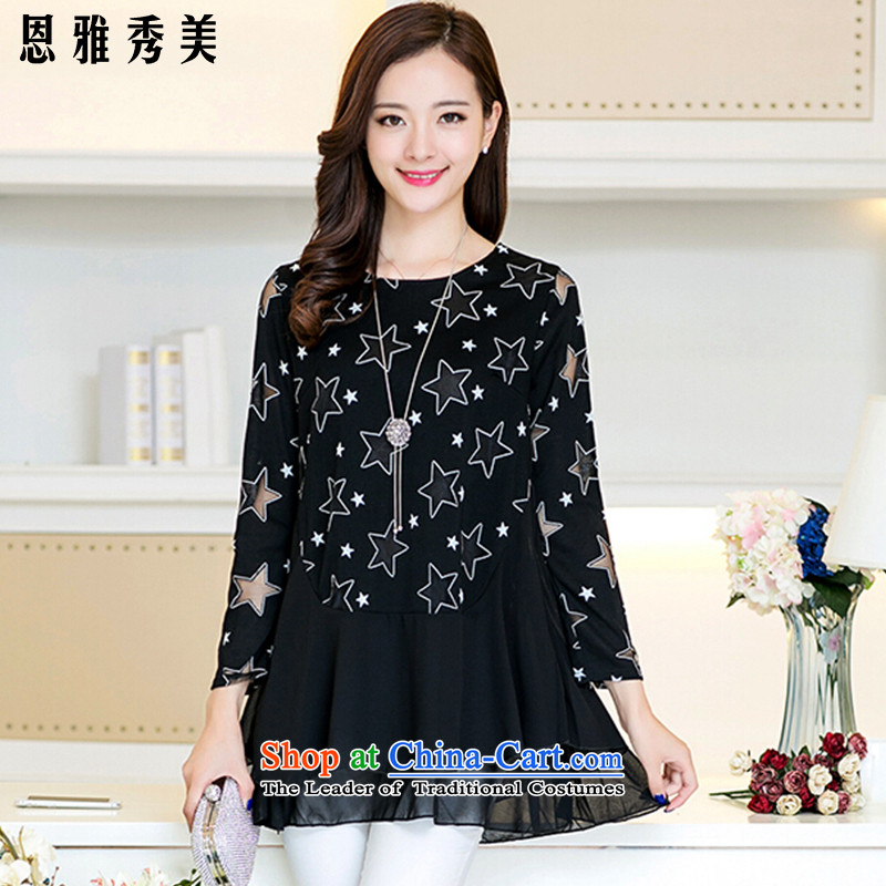 Eun-Ya Xiu Fall 2015 for women thick MM TO XL Graphics thin knitted shirts Europe chiffon yarn, forming the T-shirt shirt root dresses 805_ Black燲L recommendations 110-125 catty