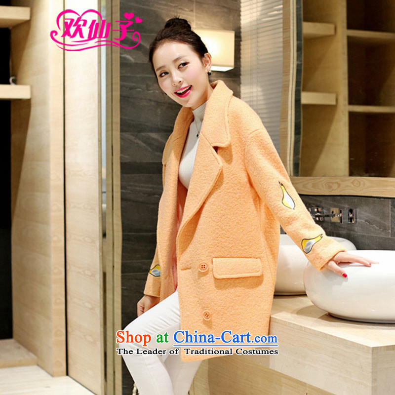 However beautiful autumn and winter 2015 new Korean Sau San, long-Embroidered Gross  350 female coat? orange L