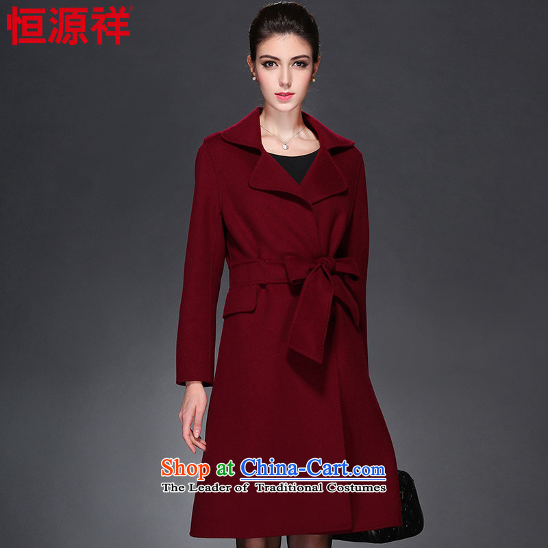 Hang Cheung Chau load source 2015 new two-sided woolen coat female plain hand-made woolen coats in long?_? COAT 8902 4_ Deep Violet�5_L