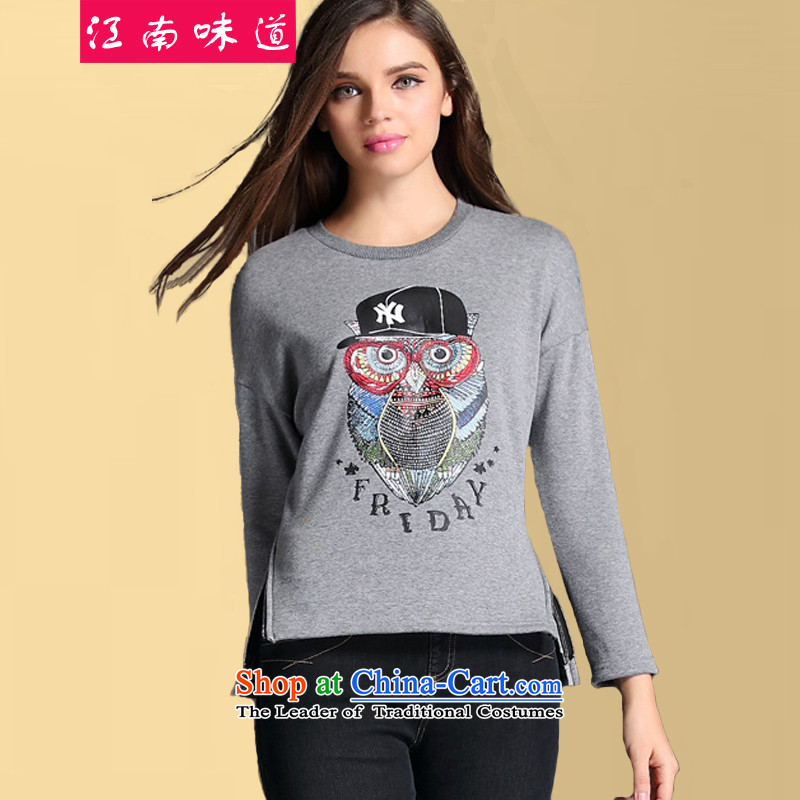 The Gangnam taste large autumn and winter 2015 women sweater to increase long-sleeved thick plus lint-free round-neck collar kit head relaxd long-sleeved owl stamp sweater gray stamp 3XL recommendations 140-160 characters around 922.747