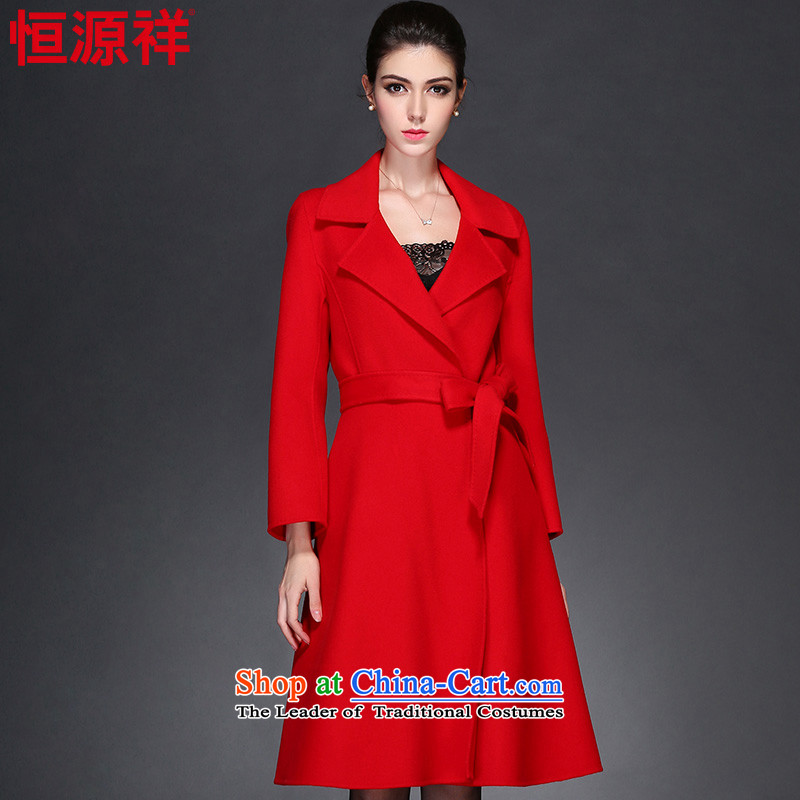 Hengyuan Cheung 2015 autumn and winter new two-sided woolen coat in long wool coat women? No. 1 red�5_88A_L_ 8903