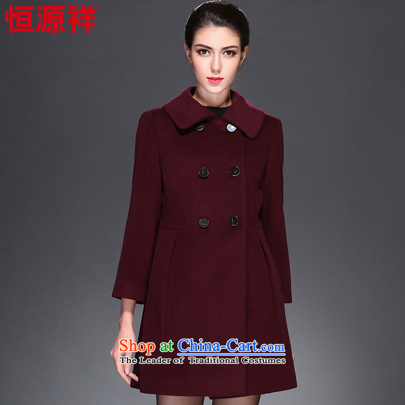 Hengyuan Cheung 2015 autumn and winter Ms. new woolen coat in long warm jacket wool is a cloak female 2_ mallow first 8,909 K170_92A_XL_