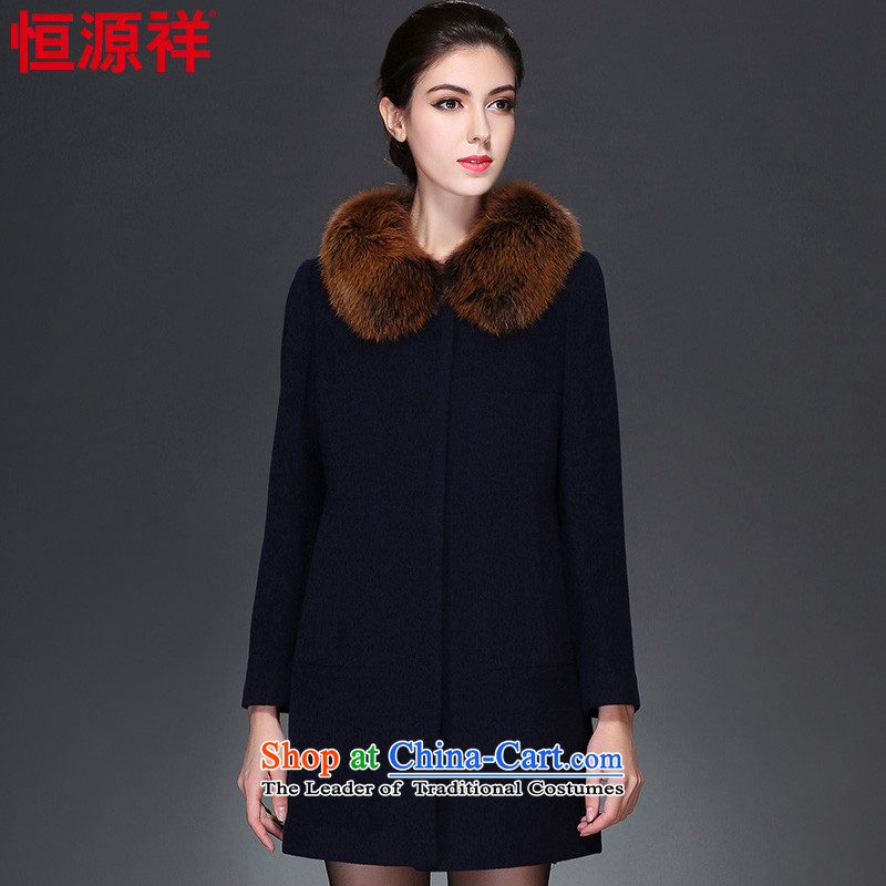 Ms. Cheung Hengyuan woolen COAT 2015 in autumn and winter new long warm a wool coat on the Nagymaros Neck Jacket female 2_ Navy�5_96A_XXL_ 8910