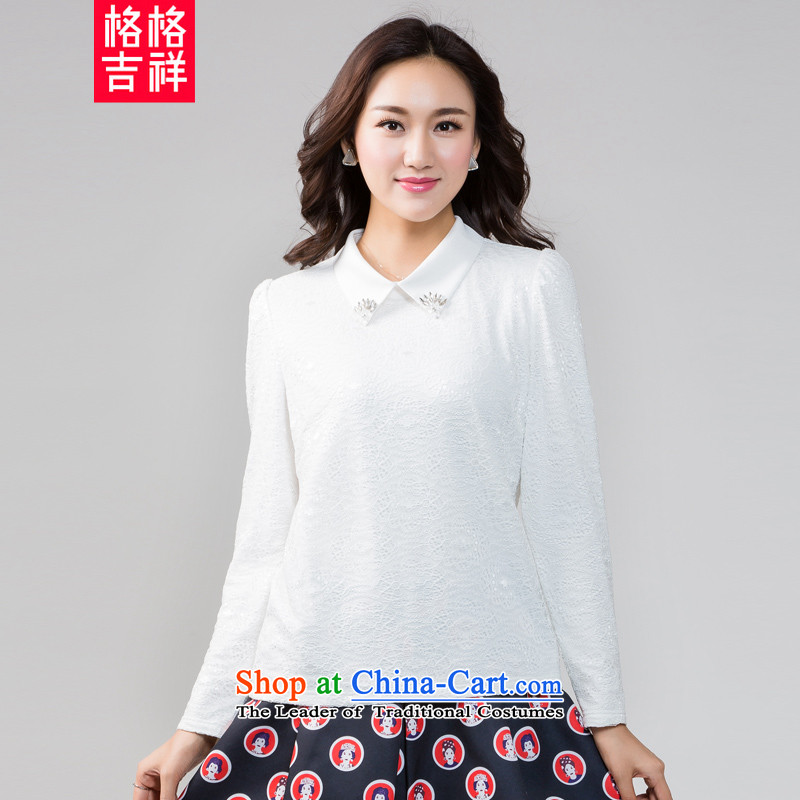 The interpolator auspicious 2015 to increase the number of women in the autumn of Korean New mm thick video thin plus long-sleeved shirt, lint-free lace forming the Netherlands T-shirt K5585 female white plus 3XL lint-free