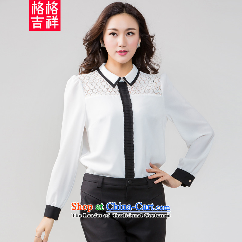 Princess Returning Pearl�15 Autumn replacing Korea auspicious Edition to increase the number of women with thick mm thin knocked color graphics Sau San stitching long-sleeved shirt, forming the chiffon shirt K5581 White�L