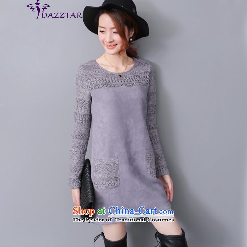 燣arge DAZZTAR Women 2015 autumn and winter new plus lint-free video in Sau San thick thin long-sleeved shirt, forming the long燚M0169燝RAY� XL