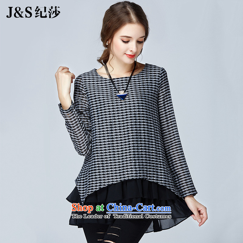 Elizabeth discipline聽high-end of 2015 Ultra graphics thin women's code autumn new plaid T-shirt loose chiffon stitching leave two long-sleeve female to xl shirt聽color picture SN1506聽2XL