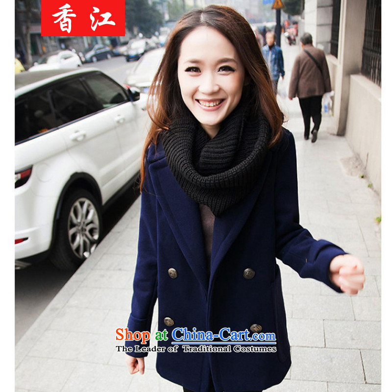 Xiang Jiang 2015 new thick mm200 catty to increase women's code in long-jacket thick sister autumn new shirts 825 dark blue 5XL