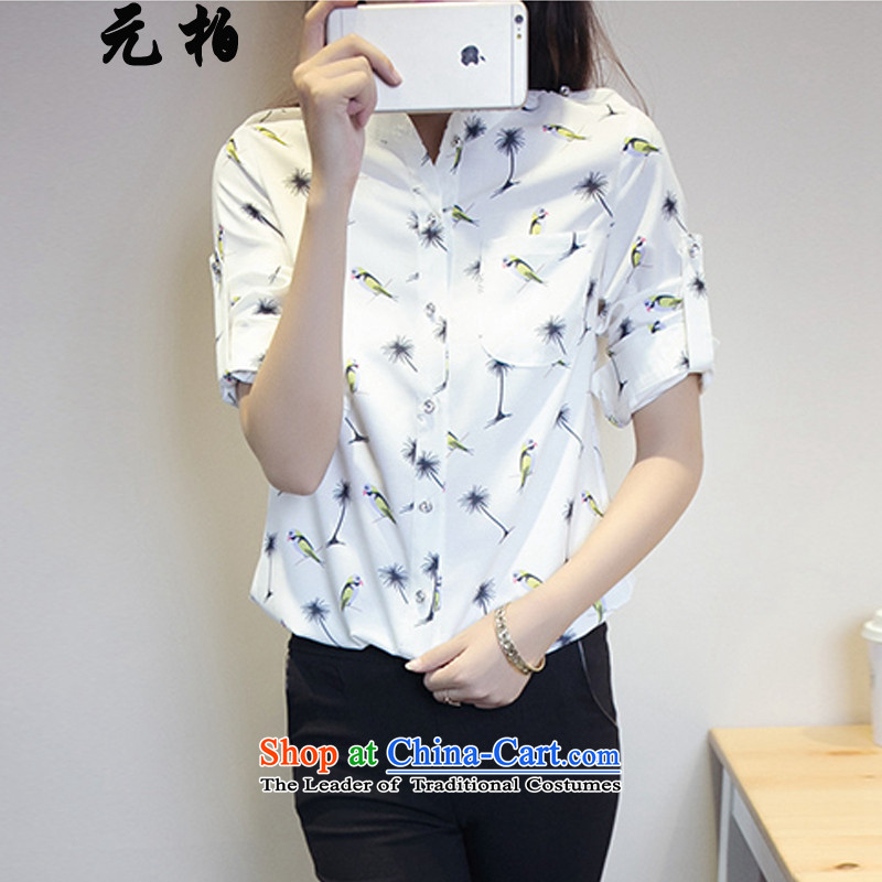 In the new paragraph baiqiu chiffon stamp long-sleeved shirt during the spring and autumn large women wear shirts to xl thick MM THIN white 6212 5XL video about 180-195