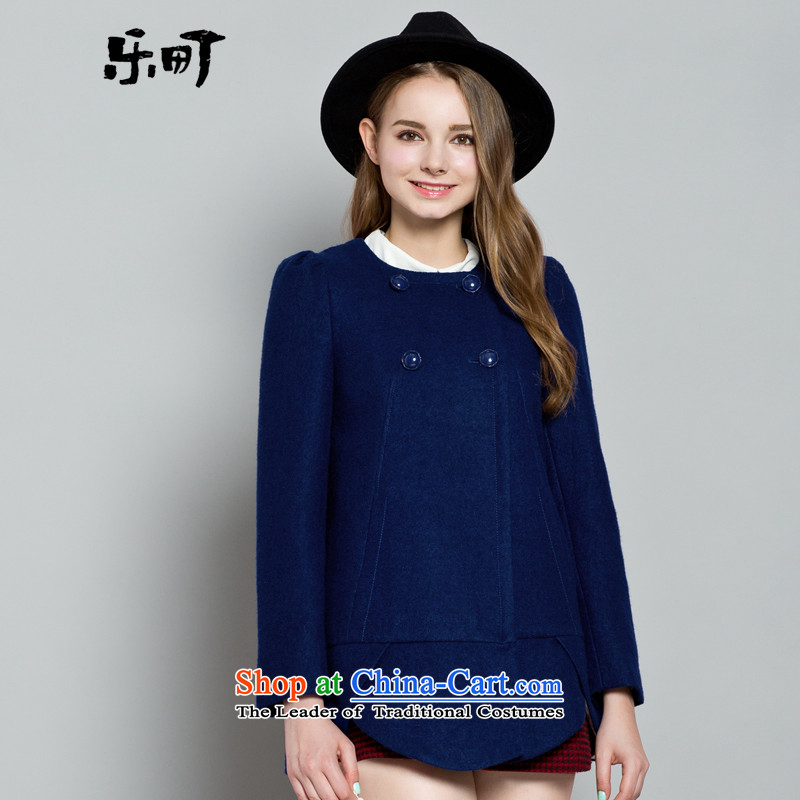 Lok-machi 2015 Autumn In New jacket, long hair? coats of coat before the end of the waves of pure colors round-neck collar L_165 Blue Jacket